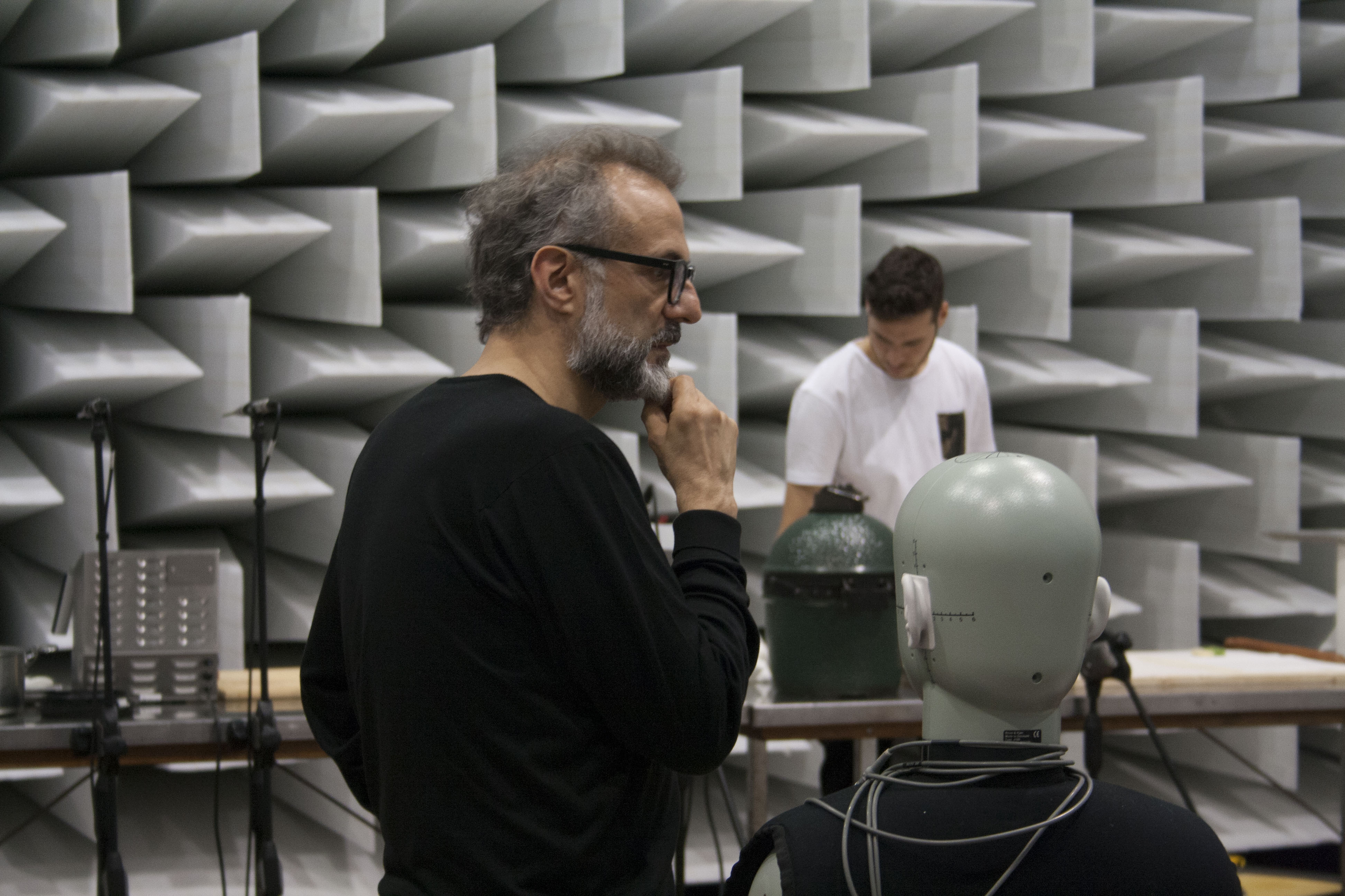 Chef Bottura in the anechoic chamber:unusual and futuristic set for a very interesting video for the New York Times